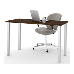 Bestar - Bestar Work Table with Square Metal Leg in Chocolate - Bestar - Computer Desks - 6585569 - The BESTAR work table has the capability to fit in any room and can adapt to many uses. The integrated levelers allows the work table to adapt to any floor irregularities. The square metal leg is included with the work table and has a 10 year warranty with a Chocolate finish.