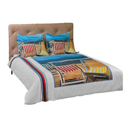 """ARTnBED - Duvet Cover """"Beautiful Day"""" , Full/Queen - The sky is blue, the sun is shining, perfect waves and silky sand. What else could we ask for? You may be far from the beach but your rest is assured with this duvet cover graced with a large digital print of the painting """"Beautiful Day"""" by the artist Arie Azene. Inspired by a perfect day at his favorite Mediterranean beach, Arie paints tranquility and relaxation in shades of blue and sand."""