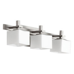 Joshua Marshal - Three Light Satin Nickel Satin Opal Glass Vanity - Three Light Satin Nickel Satin Opal Glass Vanity