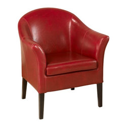 Armen Living - Armen Living 1404 Leather Club Chair - Red Multicolor - LCMC0011RE - Shop for Living Room Chairs from Hayneedle.com! The Armen Living 1404 Leather Club Chair Red takes a classic design and moves it fashion forward! The handsomely crafted kiln-dried wood frame of this typically antique style piece is fully upholstered in a vibrant red leather that's not only eye-catching but a pleasure to bask in whether you're relaxing at home or toiling away on that next big project at work. Most importantly the thick padding and high back and arm rests give you the extra support you deserve and the traditional style makes it a great choice for your home or office.About Armen LivingImagine furniture without limits - youthful robust refined exuding self-expression at every angle. These are the tenets Armen Living's designers abide by when creating their modern furniture collections. Building on more than 30 years of industry experience Armen Living combines functional versatility and expert craftsmanship into their dramatic furniture styles all offered at price points fit for discriminating budgets. Product categories include bar stools club chairs dining tables ottomans sofas and more. Armen Living is based in Sun Valley Calif.