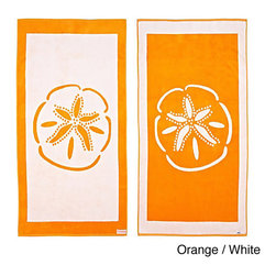 Freeman - Sand Dollar Reversible Oversized Beach Towel - Stay dry while at the beach or pool with the Sand Dollar reversible beach towel constructed of soft 100-percent cotton. This machine washable towel is available in an orange/white,turquoise/grey and orange pink.