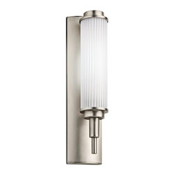 Kichler Lighting - Kichler Lighting Allegra Energy Efficient Modern/ Contemporary Bathroom/ Vanity - The etched shade features an interior ribbed acrylic diffuser shade for visual interest on this energy efficient Kichler Lighting bathroom light. From the Allegra Collection, the look is completed with a modern and clean Satin Nickel finish.