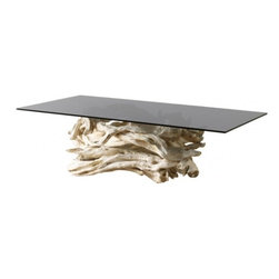 ecofirstart - 1950's Sculptural Driftwood Table - Free your soul and drift away on this sculptural dining table. The base is artisan made of dreamy white driftwood found on the coast of Maine. The top is a large smoky gray glass top that would make even Dobie croon.