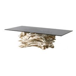 ecofirstart - 1950s Sculptural Driftwood Table - Free your soul and drift away on this sculptural dining table. The base is artisan made of dreamy white driftwood found on the coast of Maine. The top is a large smoky gray glass top that would make even Dobie croon.