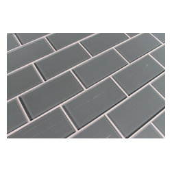 """Rocky Point Tile - Chimney Smoke 3""""x6"""" Glass Subway Tiles, 3"""" X 6"""" Sample - An easy to work with medium gray with a subtle hint of blue. If you're looking for a nice cool neutral our Chimney Smoke might be the answer! Our subway tiles are loose packed giving customers the option to install them in the pattern of their choice. Lay them in a grid or subway pattern, or get creative and try a herringbone pattern or basket weave! Use 1/8"""" spacers and the grout lines will always line up!"""