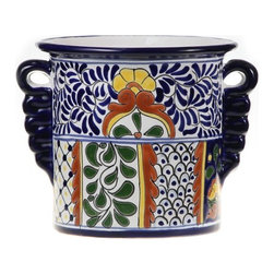 Mexican Talavera - Mexican Talavera Wine Bucket, Design C - Mexican Talavera Wine Bucket