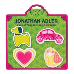 Jonathan Adler - Jonathan Adler Magnet Set, Various Patterns - Make your fridge fabulous with the Jonathan Adler Jumbo Magnet Set. Each magnet is bursting with enough personality to brighten up any kitchen appliance.