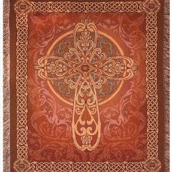 Manual - Crosswalk Brown Celtic Cross Tapestry Throw Blanket 50 Inch x 60 Inch - This multicolored woven tapestry throw blanket is a wonderful addition to any home. Made of cotton, the blanket measures 50 inches wide, 60 inches long, and has approximately 1 1/2 inches of fringe around the border. The blanket features an ornate cross in the center, bordered on all four sides with Celtic Endless Knot patterns. Care instructions are to machine wash in cold water on a delicate cycle, tumble dry on low heat, wash with dark colors separately, and do not bleach. This comfy blanket makes a great gift for friends and family.