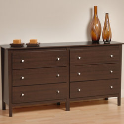 Prepac Furniture - Prepac Berkshire 6 Drawer Dresser in Espresso - Constructed from composite wood with durable and attractive laminate espresso finish, attractive Berkshire 6 Drawer Dresser in Espresso - Prepac Furniture brings unadorned, contemporary look. Brushed nickel knobs add a shimmering contrast to the matte texture of the Espresso laminate finish. The top extends beyond the frame and has softly curved edges. The six drawers are mounted on metal drawer glides with built in safety stops.    Features: