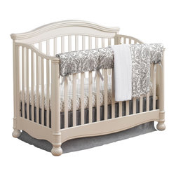 "Liz and Roo - Madison Linens Bumperless Crib 4 Piece Bedding - The Madison Linens Bedding Set offers a traditional pattern with an updated style. This is a beautiful gender neutral option featuring a rail cover rather than a bumper. Protect your crib from teething while adding beauty to the nursery with this bumper-free alternative. Madison is a damask pattern in a gentle gray on white. A 100% cotton twill chelsea medallion crib sheet with 1"" elastic is included. The set is completed with a 16"" drop solid linen crib skirt and luxurious minky blanket in the madison pattern. All of our crib bedding is made in USA with the highest level quality and manufacturing standards!"