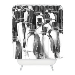 DENY Designs - Eric Fan A Gathering Of Gentlemen Shower Curtain - Who says bathrooms can't be fun? To get the most bang for your buck, start with an artistic, inventive shower curtain. We've got endless options that will really make your bathroom pop. Heck, your guests may start spending a little extra time in there because of it!
