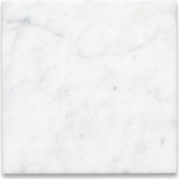 """Stone Center Online - Carrara White 6 x 6 Tile Honed - Marble from Italy - Premium Grade Carrara Marble Italian White Bianco Carrera Honed 6x6"""" Wall & Floor Tiles are perfect for any interior/exterior projects such as kitchen backsplash, bathroom flooring, shower surround, countertop, dining room, hall, lobby, corridor, balcony, terrace, spa, pool, etc. Our large selection of coordinating products is available and includes hexagon, herringbone, basketweave mosaics, subway tiles, moldings, borders, and more."""
