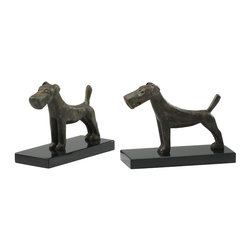 Cyan Design - Cyan Design Scottish Dogs Bookends (Pack of 2) X-96220 - These Cyan Design bookends set includes two identical bookends, each adorned with a charming Scottish dog figurine. The dogs are done in rustic, almost primitive style with iron construction. They are standing on granite bases and finished in a Byzantine Oxide.