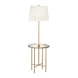 Pacific Coast Lighting Golden Safari Floor Lamp with Tray - The modern style of the Pacific Coast Lighting Golden Safari Floor Lamp with Tray will brighten your home and add a charming touch that you and your guests will enjoy. Constructed with a 19-inch diameter mirror tray with bevel, this stylish floor lamp provides additional shelf space within any setting. Complementing the warm gold with red stain finish of this floor lamp is an off-white linen round shade. Requires one 150-watt medium base bulb (not included).About Pacific Coast LightingPacific Coast Lighting was founded in 1979. Since then they have set a standard of excellence for the entire lighting industry. They have built a reputation for innovative design, quality workmanship, and market responsiveness. Pacific Coast Lighting has its own house brand and is the exclusive lighting and accessory manufacturer for several of today's prestigious lifestyle brands. Kathy Ireland Home and National Geographic Home collections are two of these well-respected lines.