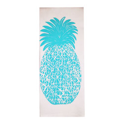 Lulu LaRock - Pineapple Flour Sack Towels, Aqua, Set of 2 - 100% cotton flour sack 28 x 30, custom designed, hand pulled silkscreen