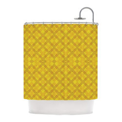 """Kess InHouse - Mydeas """"Dotted Plaid"""" Geometric Yellow Shower Curtain - Finally waterproof artwork for the bathroom, otherwise known as our limited edition Kess InHouse shower curtain. This shower curtain is so artistic and inventive, you'd better get used to dropping the soap. We're so lucky to have so many wonderful artists that you'll probably want to order more than one and switch them every season. You're sure to impress your guests with your bathroom gallery in addition to your loveable shower singing."""