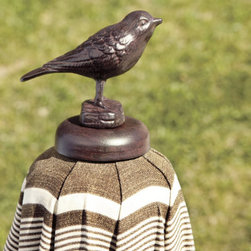 """Outdoor Umbrella Finial - I love the idea of topping my outdoor umbrella with this darling finial. Although, it may just bring some extra guests to the table when they fly in to visit their """"friend."""""""
