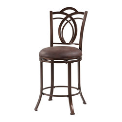 """Linon Home Decor - Linon Home Decor Calif Metal Counter Stool X-U10LTM055430 - The Calif Metal Stool blends transitional styling with traditional charm. Crafted for fashion and comfort, the stool has a decorative back, flared legs and swivel seat. Finished in a deep Coffee Brown, the seat is plushly upholstered in easy to maintain Coffee Brown PU. Made of metal, this piece is sturdy and durable for long lasting use. 24"""" Seat Height. 275 pound weight limit."""