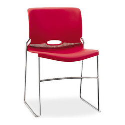 "Hon - Olson High Density Stacking Chair, Set of 4 - This chair puts the ""fun"" in functional. In bright cherry red, this sleek seat is molded of a high-density polymer and features an oval back cutout — a design element that doubles as ventilation and a hand hold for moving them around. They're sold in sets of four, and stack for easy storage."