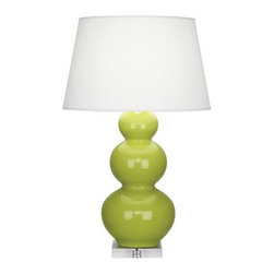 "Robert Abbey Lighting - Robert Abbey Triple Gourd Table Lamp in Apple - Triple gourd table lamp in apple by Robert Abbey.*California, Oregon & Washington State Only: Surcharge of $25.00 shows as ""Drop Ship Fee"" on checkout page."