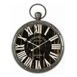 Yosemite Home Decor - Black 18-Inch Pendant Iron Wall Clock - - Travel through time with this European style hanging wall clock designed with old world charm in mind. The design resembles a mens pocket watch. Theres a loop on the top where one would imagine a pocket watch chain to be attached. The dial has a black distressed finish with white roman numeral markers. Under the number twelve is the words Kensington station and by the six is London 1879. The frame is iron and has the appearance of single studs at each number. There is an hour and minute hand but no second hand.  - Takes 1 AA battery not included  - + - 30 second/month  - Metallic frame black face white texts white hands  - Ready to hang out from the box  - Clock type: wall  - Clock display type: Analog  - Clock face length: 16  - Clock face width: 16  - Quartz movement: Yes Yosemite Home Decor - CLKA1384