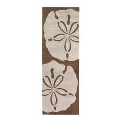 Thomas Paul - Sand Dollar Tufted Pile Rug by Thomas Paul - As soft and pleasing on bare feet as a sandy beach. The Thomas Paul Sand Dollar Tufted Pile Rug features a versatile brown-on-brown color palette, with beige sand dollars set against a chocolate brown background. The plush feel of the rug is due to the hand-tufted construction and quality New Zealand wool. Chandra area rugs have rapidly become known for tradition, heritage and quality of the handmade Indian rug. Designers Thomas Paul, Amy Butler, and Mary Agan have created a unique collection of area rugs that has become one of the most eclectic, quality lines in the industry.