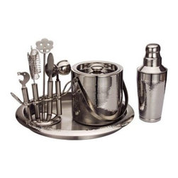 Nine Piece Hammered Finish Steel Bar Set - Includes: 1 Cocktail Shaker, 1 Ice Bucket with Lid, 1 Round 14 Inch Tray, 1 Strainer, 1 Double Jigger, 1 Bottle Opener, 1 Stirrer, 1 Knife, 1 Bar Tool Stand.