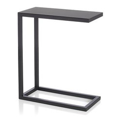 Avenue Black C Table - C-shaped table slides into place wherever and whenever you need it, with a clean, contemporary lines in classic black. Open design tucks around sofas or chairs for entertaining and TV dining.