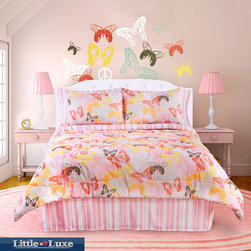 Veratex - Butterfly 3-piece Twin-size Comforter Set - A charming butterfly design makes for the perfect little girl's pink twin-size comforter set. Keep your little one's flights of fancy aloft with this pretty bed set featuring a comforter, bed skirt, and one pillow sham sure to inspire sweet dreams.