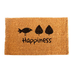 """CocoMatsNMore - CocoMatsNMore Happiness Design Coco Doormats - 18"""" X 30"""" - Eco-friendly Coco Mat are hand-woven and  made from 100% natural coir . These coco doormats are designed to last for a long time and are easy to maintain and clean by either shaking or hosing it down. Designed with fade-resistant dyes they are durable enough to withstand the harshness of weather and look good througout the year. Furthermore, they keep your house clean by doing a fabulous job of trapping the dirt, mud and debris right at the doorstep."""
