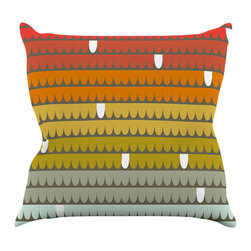 """Kess InHouse - Pellerina Design """"Rainbow Scallops"""" Red Orange Throw Pillow (16"""" x 16"""") - Rest among the art you love. Transform your hang out room into a hip gallery, that's also comfortable. With this pillow you can create an environment that reflects your unique style. It's amazing what a throw pillow can do to complete a room. (Kess InHouse is not responsible for pillow fighting that may occur as the result of creative stimulation)."""
