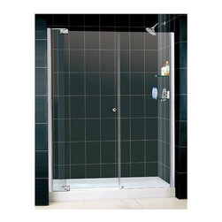 Dreamline - Allure Adjustable Pivot Shower Door in Chrome (Small) - Choose Size: Small. Includes stationary side panel with two integrated glass shelves. Base not included. Unique adjustable pivot door. Reversible for right or left hand installation. Anodized aluminum profiles. ANSI certified. Made from aluminum and 0.38 in. thick tempered glass. Small: 54 - 61 in. W x 73 in. H. Large: 60 - 67 in. W x 73 in. H. Warranty. Installation Manual. Marketing Brochure