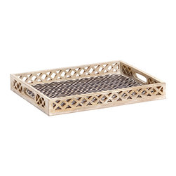 Dancing Waters Decorative Tray, Medium - Impress family and friends with the unexpected detail in our Dancing Waters Decorative Tray. Crafted from sustainable grown mango wood, this tray is reminiscent of the stunning effects of water gathering in river eddies or dancing across pebbled beaches. With hand-carved latticework on the side panels and a complementing hand painted black motif adorning the base, every aspect of this piece is a work of art.