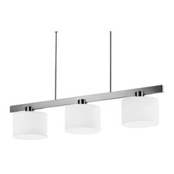 Estiluz - Paris T-2418 Linear Suspension by Estiluz - The Estiluz Paris T-2418 Linear Suspension embodies all the modernity and cosmopolitan style of its namesake. As influenced by the City of Lights, the Paris T-2418 has three drum-shaped shades of hand-blown White case glass that diffuse a bright, frosty glow throughout a space. The linear arrangement makes it ideal over a kitchen island or lengthy dining table.Estiluz, established in 1969, is a contemporary lighting company based in a small Spanish town just outside of Barcelona. Using state-of-the-art production techniques, Estiluz has always focused most on the quality, functionality and accessibility of their decorative architectural lighting designs.The Estiluz Paris T-2418 Linear Suspension is available with the following:Details:3 drum-shaped, hand-blown White case glass shadesMetal frameBrushed Nickel finishRectangular ceiling canopyTelescoping stemsETL Listed for damp locationsDesigned by Leonardo MarelliLighting:Three 100 Watt 120 Volt Type A19 Medium Base Incandescent lamps (not included).Shipping:This item usually ships within 3 to 5 business days.