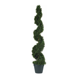 Nearly Natural - 4' Cedar Spiral Silk Tree (In-door/Out-door) - Crafted with quality and detail in mind this stunning cedar silk tree will brighten up any space. It features 1130 meticulously designed leaves each with an authentic texture. This spiral shaped cedar stands 4 ft tall and sits in a nursery pot. Perfect for a foyer or outdoor covered entrance way this Cedar Spiral tree will add that perfect touch of traditional colonial elegance to any in area in your home. Color: Green, Height: 4'.