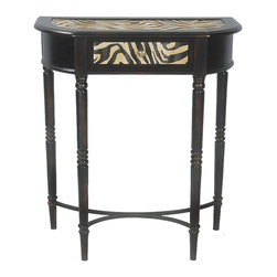 Sterling Industries - Sterling Industries Gaborone Desk X-7000-15 - Designed to sit flush against the wall, this Sterling Industries desk from the Gaborone Collection features both contemporary and traditional elements. The bold zebra pattern is seen on the top and on the face of the drawer, adding a pop of color and interest. Traditional turned legs and a classic dark finish pull the look together.
