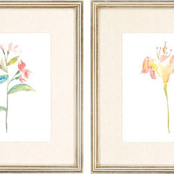 Paragon Decor - Watercolor II Set of 2 Artwork - Giclees are deckled and float mounted with antique silver framing.
