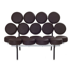 """Modway - Othello Modern Sofa, Brown - This unconventional sofa brings both fun and modern styling to your home. Featuring a whimsical design of """"floating"""" genuine leather cushions, the Othello Couch is not only astonishing in its appearance, but also surprisingly comfortable."""