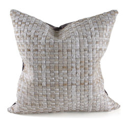 """Pfeifer Studio - Woven Cowhide Pillow, Off-White, 18"""" x 18"""" - This beautifully textured basket weave pillow is perfect for a sofa or bed. The neutral color palette would add the perfect hint of earthiness to a modern design. It's a great pop of cowboy-chic decor."""