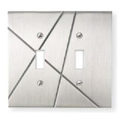 Atlas - Modernist Double Toggle Switch Plate - NSDT-B - Manufacturer SKU: NSDT-BRN. Projection: 0.31 in.. Made from metal. Brushed nickel color. 4.87 in. L x 4.87 in. W