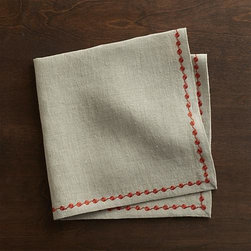 Marianna Dot Linen Napkin - Orange embroidery traces a dotted trail on natural linen napkin. Mix and match with Marianna Sprig napkins and coordinating placemats and runners.