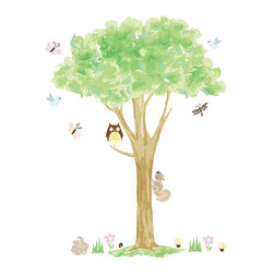 "WallPops - Treehouse Wall Art Decal Kit - Decorating with trees brings enchanted art to your walls. This WallPops wall art kit features a delightful and magical tree surrounded by woodland animals, butterflies, and bluebirds that will blossom happiness in your nursery or kids room. The Tree house Wall Art Kit contains two 17 1/4"" x 39"" sheets and comes with 26 pieces."
