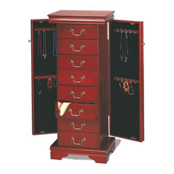 Coaster - Jewelry Armoire w 2 Doors - This gorgeous jewelry armoire comes in an elegant cherry wood finish and is accented with antique brass finish pulls and knobs. Its eight drawers and two side doors provide plenty of room for necklaces, bracelets, rings, and watches. * Traditional style. Lids with mirrored inserts. Four tiers hooks for keeping necklaces and chains untangled. Pull out drawers offer additional space for stowing scarves, hairpieces, earrings, bracelets and more. Framed top and bracket feet. Antiqued brass look decorative ring pulls lend classic appeal. Interior hooks provides convenient hanging space for necklaces, lockets and chains and help avoid tangles. Vibrant cherry finish. 18 in. W x 13 in. D x 43.5 in. H. Warranty