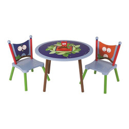 """Levels of Discovery - Owls Table and 2 Chairs Set - Sturdy and made to last - the perfect place for playing, coloring or sharing a snack with a friend  Owl on tabletop opens to reveal a secret storage compartment  Chairs feature wise owl seat backstabletop storage compartment. Owl seat backs. Three piece set. Table surface height: 21"""". Made of MDF (particle board) for flat surfaces and Hard Woods for """"turned"""" areas"""