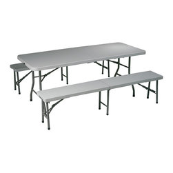 Office Star - 3 Pc Folding Table and Bench Set - This 3 piece folding table and bench set is perfect for a day at the park or a beach outing!  With a durable metal frame and a solid resin construction, this set will provide seating instantly and conveniently! * Resin construction. Metal Frame. Table: 72 in. W x 30 in. D x 29.25 in. H. 72 in. W x 30 in. D x 29.25 in. H