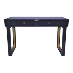 """Oomph - Oomph Chelsea Desk - The Oomph Chelsea desk provides a glamorously mod statement. With brushed brass details on the geometric legs, this office furnishing lends refined function with one top drawer. 48""""W x 24""""D x 30""""H; Choose from a selection of finishes; Shown in Dragon's Breath; Rubbed brass pulls; Handmade in the USA; Plantation-grown poplar wood"""