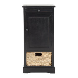 Safavieh - Safavieh Raven Tall Distressed Black Storage Unite X-B3075HMA - Relaxed and casual, the Raven storage unit has an easygoing appeal that's perfect for a country casual style. With a roomy cabinet and one pull out woven basket, Raven makes stashing remotes, CDs and magazines a breeze.