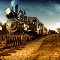 LimitLess Walls - Steam Engine Mural - Have an old time steam engine run right across your wall.  Our canvas material is completely removable and repositionable. Protect your walls with no hassle, and no paste.