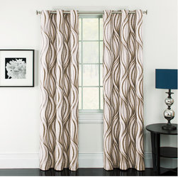None - Celestina Wave Jacquard Grommet Blackout Curtain Panel Pair - Add contemporary style to any room in your home with these lovely geometric curtains. These stylish wide width drapes are also energy saving and can help reduce outside noise.