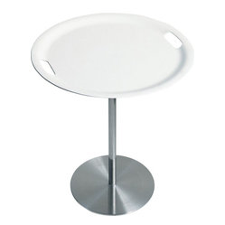 "Alessi - Alessi ""Op-la"" Table - Bring the serving tray to the table — and the table to the serving tray. This table features a white plastic serving tray with handles atop a sleek and modern stainless steel base. At about 20-inches high, it makes a perfect side or occasional table."
